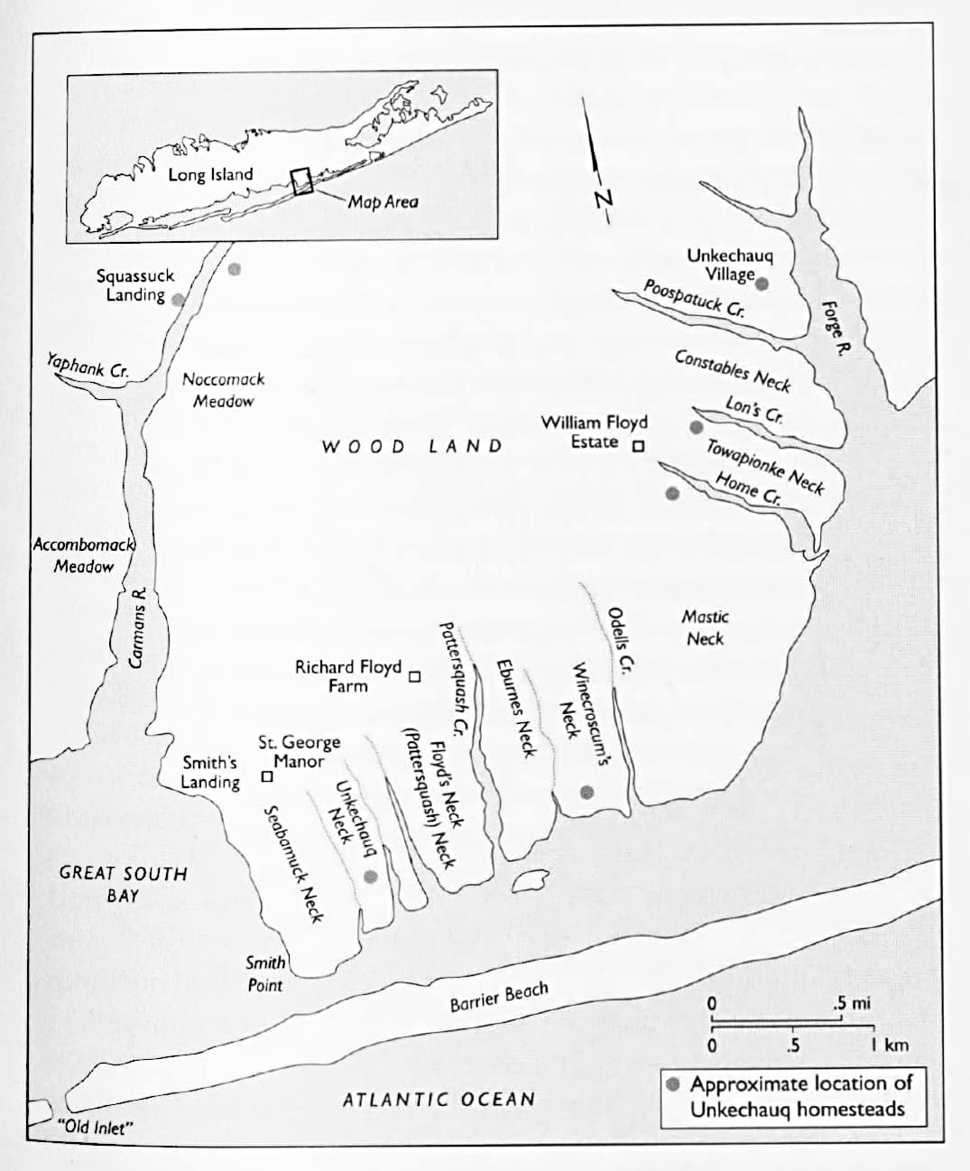 Unkechaug-Homesteads-and-English-colonial-estates-on-Mastic-Peninsula-ca-1750-from-John-Strong-The-Unkechaug-Indians-of-Eastern-Long-Island William Floyd Estate Jeremy Dennis On This Site
