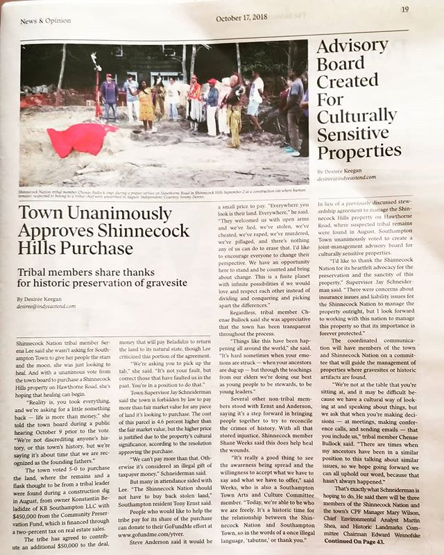 Nice article in yesterday's @indyeastend about the Southampton Town Board decision to dedicate CPF funds ti preserve the Hawthorne Site