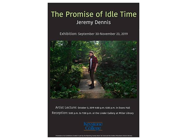 """Announcing """"The Promise of Idle Time"""" a solo show in Linder Gallery at the Miller Library on @keystonecollege campus curated by Katie Hovencamp @katiehovencamp The show will be on display from Sept. 30 to Nov. 23 in the Linder Gallery at Miller Library on the campus of Keystone College.The Promise of Idle Time will feature a selection of images from my recent project Rise and the Nothing Happened Here series.A public lecture will be held October 3rd from 4-5pm in Evans Hall followed by an opening reception from 5-7pmWill head to PA tomorrow to install!"""